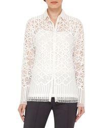 Akris | Black Geometric Lace Button-front Blouse | Lyst