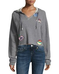 True Religion | Gray Pullover Hoodie With Patch Appliqués | Lyst