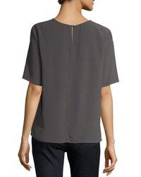 Eileen Fisher - Gray Half-sleeve Crinkle Crepe Top - Lyst