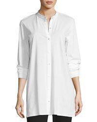 Eileen Fisher - White Mandarin-collar Easy Organic Jersey Tunic - Lyst