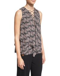 10 Crosby Derek Lam | Black Sleeveless Floral Silk Lace-up Top | Lyst