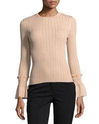 Jonathan Simkhai - Natural Perforated Knit Crewneck Sweater - Lyst