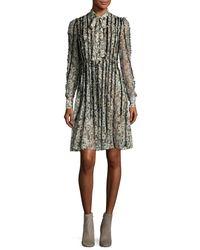 Valentino - Black Floral Waves Fringe-trim Silk Tie-neck Shirtdress - Lyst