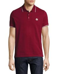 Moncler | Red Tipped Piqué Polo Shirt for Men | Lyst