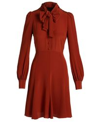 Co. - Orange Puffed-sleeve Tie-neck Dress - Lyst