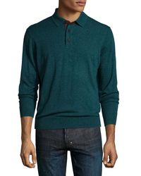 Neiman Marcus   Green Cashmere Long-sleeve Polo Sweater for Men   Lyst