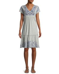 Johnny Was - Gray Lei Lei Smocked-tier Dress - Lyst