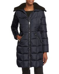 Moncler - Blue Davida Zip-front Long-sleeve Quilted Puffer Coat - Lyst