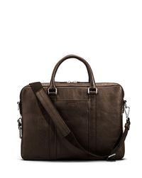 Shinola Brown Men's Slim Leather Computer Briefcase for men