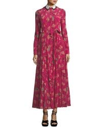 Valentino - Red Lotus-print Silk Gown With Removable Collar - Lyst