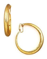 Jose & Maria Barrera | Metallic Hammered Golden Clip-on Hoops | Lyst
