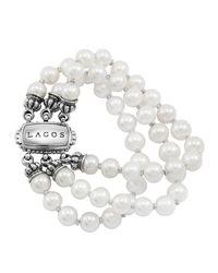 Lagos   White Luna Pearl Bracelet   Lyst