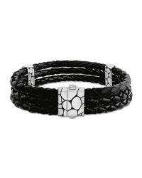 John Hardy | Kali Black Woven Leather Triple-row Bracelet | Lyst