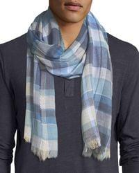 Begg & Co - Blue Cottlea Plaid Cotton-linen Scarf for Men - Lyst