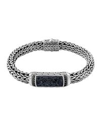 John Hardy | Metallic Men's Classic Chain Black Volcanic And Black Sapphire Bracelet | Lyst