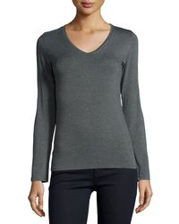 Neiman Marcus | Green Soft Touch Long-sleeve V-neck Tee | Lyst