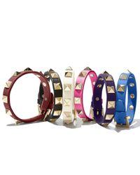 Valentino | Black Small Rockstud Leather Bracelet | Lyst