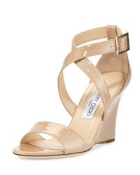 Jimmy Choo | Natural Fearne Patent Crisscross Wedge Sandal | Lyst