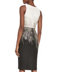 Carolina Herrera | White Mikado Two-Tone Beaded Cocktail Dress | Lyst