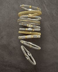 Lagos - Metallic Silver Caviar Diamond X Bracelet With 18k Gold - Lyst