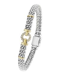 Lagos | Metallic Sterling Silver & 18k Gold Rope Bracelet With Diamonds | Lyst