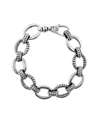 Lagos | Metallic Silver Small Caviar & Fluted Link Bracelet | Lyst