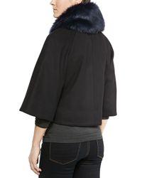 Elie Tahari | Black Nadja Faux-fur Swing Coat | Lyst