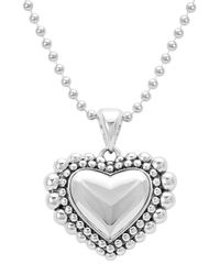 Lagos - Metallic Caviar Beaded Heart Pendant Necklace - Lyst