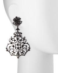 Jose & Maria Barrera | Black Lace Scroll Chandelier Earrings | Lyst