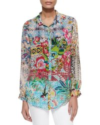 Johnny Was | Multicolor Milla Long-sleeve Floral-print Blouse | Lyst