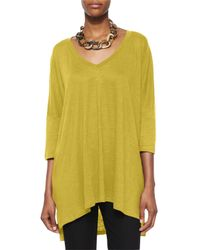 Eileen Fisher | Green Linen Tunic Sweater | Lyst
