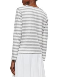 Joan Vass - White Long-sleeve Striped Top - Lyst