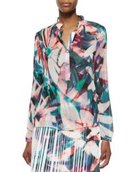 Nicole Miller - Multicolor Long-sleeve Floral-print Blouse - Lyst
