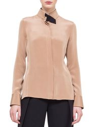 Akris - Pink Stand-collar Silk Blouse - Lyst