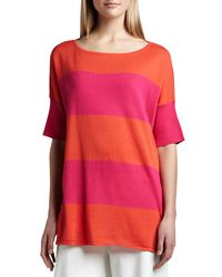 Joan Vass - Red Striped Boxy Sweater - Lyst