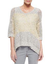 Lafayette 148 New York - Gray Colorblock Eyelet-stitch Sweater - Lyst