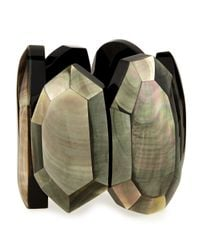 Viktoria Hayman | Black Faceted Mother-of-pearl Stretch Bracelet | Lyst