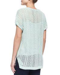 Belford | Green Short-sleeve Knit Pointelle Popover Top | Lyst