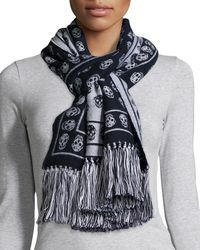 Alexander McQueen - Blue Skull-print Cold Weather Scarf - Lyst