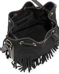 Saint Laurent - Black Emmanuelle Fringed Suede Bucket Bag - Lyst
