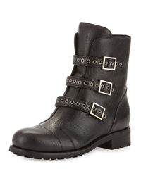 Jimmy Choo | Black Dover Triple Buckle Flat Boot | Lyst