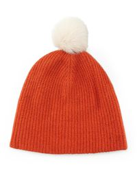 Rag & Bone | Orange Cynthia Knit Beanie With Shearling Fur Pompom | Lyst