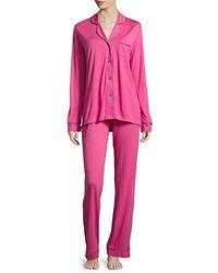 Cosabella | Pink Bella Contrast-trim Long-sleeve Pajama Set | Lyst