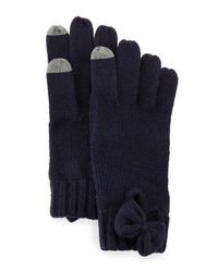 kate spade new york - Natural Gathered Bow Knit Gloves - Lyst