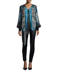 Roberto Cavalli - Black Waxed-front Paneled Denim Jeans - Lyst