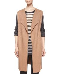 NIC+ZOE - Brown Harmony Long Knit Vest - Lyst