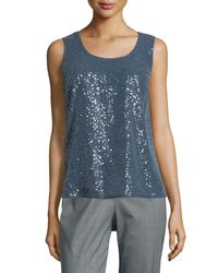 Lafayette 148 New York - Blue Cleo Sequinned Blouse - Lyst