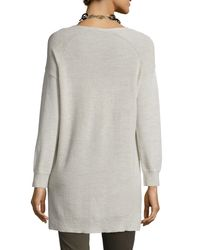 Eileen Fisher - Red Washable Wool Ribbed V-neck Top - Lyst