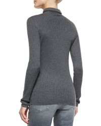 Vince - Black Long-sleeve Skinny-rib Sweater - Lyst