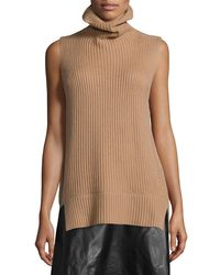 VINCE | White Ribbed Sleeveless Turtleneck Sweater | Lyst
